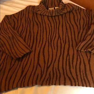 Animal Print Mock Neck Sweater